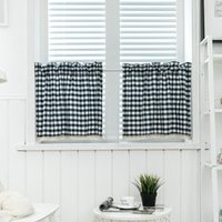 Marinha japonesa azul samll cortinas xadrez curta curta cortina cortina de laço painel de café para o armário de cozinha