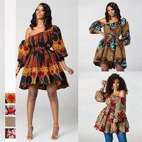 2020 новая мода африканские платья для женщин летом наклонное плечо два износа в африканском стиле печатает богатый базиншими топ Q1201