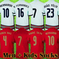 2021 Fussball Jerseys Joao Felix Neves Bernardo B. Fernandes Cancelo Ruben Neves Diogo 20 21 Nationalmannschaft Männer Kinder Socken Kit Fußball Hemd