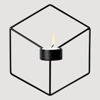 Basit Stil 3D Geometrik Şamdan Metal Nordic Duvar Mumluk Aplik Eşleşen Küçük Tealight İskandinav Ev Süsler