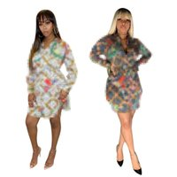 2021 Europa und Amerika Damenmode Digitaldruckbuchstaben Sexy Hemd Rock Neue Produktkleid S-2XL