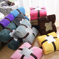 Coperta a righe solide coperta flanella in pile super soft coperte invernale caldo soffice lenzuola lenzuola copriletto per divano camera da letto arredamento