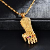 DZ Hip Hop Natural Stone Thanos Luvas Pingente Definindo Ouro 316L Colares de Aço Inoxidável para Homens Rapper Jóias