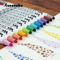 4 или 12 цветов / набор Япония kuretake Zig двойной головы круглые точечные акварельные журнал маркер ручка живописи художественные материалы 201222