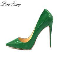 Doris Fanny Green High Heels Pumps Sexy Stiletto Heels Frauen Pumpe Königin Schuhe Plus Größe 44 45 LJ201113