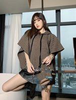1026 무료 배송 2020 브랜드 똑같은 스타일 정규 민소매 후드 격자 무늬 스웨터 여성 의류 Mingzhi