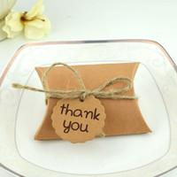Caja de dulces Gracias boda caja de caramelo Retro Kraft Papel DIY Caja de Navidad de regalo de almohada creativa HH9-3726