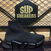 أعلى جودة أزواج الأزياء مصممو الأحذية النسائية السرعة 2.0 حذاء الرجال النساء الثلاثي s الأسود في الهواء الطلق منصة الجوارب عارضة المدرب