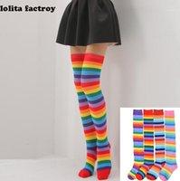 Rainbow Listras Longas Mulheres Meninas Kawaii Lolita Algodão Longo Listrado Coxa Alta Moda Anime Strip Zebra Cosplay sobre Knee Socks1
