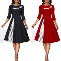 Missjoy Artı Boyutu 3XL Kadınlar Vintage Retro Uzun Kollu 1950 S Kokteyl Ploka Nokta Baskılı Düğme Patchwork Midi Parti Elbise 201203