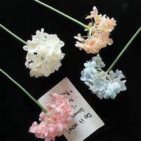 인공 꽃 실크 수국 장식 꽃 가짜 꽃 신부 꽃다발 홈 웨딩 장식 6 색 옵션 LLS566