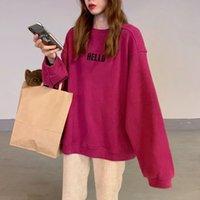 Melifle Kış Sıcak Pembe Hoodies Kadınlar Için Pamuk Vogue Uzun Kollu Harajuku Kazak Moda Kore Hello Baskı Gevşek Giysi W1231