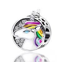 Perles de charmes en argent en argent sterling S925 Rainbow Unicorn gouttes DIY Perles Bracelet Accessoires Pendentif GRAND DROIRE