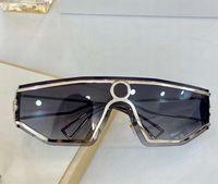 Randlose Schild Sonnenbrille Silber Rahmen Grau Schattiert Sonnenbrille Occhiali da Sohle Firmati Mode Sonnenbrille UV-Schutz Eyewear mit Box