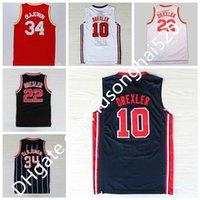 Melhor 34 Hakem Olajuwon Jersey Jogue Back Uniform 1992 EUA Equipe Dream One 10 Clyde Drexler Shirt 22 Rev 30 Novo Material Vermelho Branco Azul