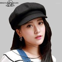 القبعات bingyanhaoxuan القبعات تقليد الصوف المثمن كاب benn الرسام قبعة الرجال القبعات الإناث خمر الشتاء للنساء شقة كاب 1