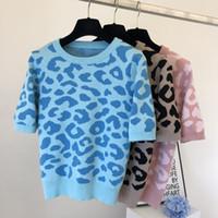2020 Outono Nova Mulher Mulher O-pescoço de Leopardo Imprimir Manga Curta Molha Moda Sweater Tops Jumper Camisa