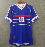 10 Zidane 1998 Francia Retro Vintage Zidane Henry Maillot de Foot Tailandia Calidad de fútbol Jerseys Uniformes Camisa de camisetas de fútbol camisa de los hombres