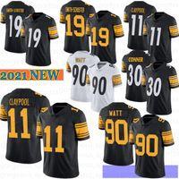 11 Chase Claypool 19 Juju Smith-Schuster Men Football Jersey 90 T.J. Watt Fitzpatrick Devin Bush Troy Roethlisberger Polamalu 2021 Nuevo