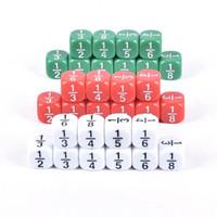 Gambeging 10 pcs Dice fracionário 16mm Número de acrílico Educacional crianças matemática brinquedos para crianças festa jogos de tabuleiro
