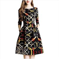 Vintage Long Sleeve Dress Retro Printed Pocket O Neck Mini D...