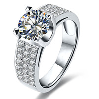 1ct Genuine marca qualidade esterlina anel de noivado de prata nscd anel de diamante simulado para mulheres 18k branco banhado a ouro rápido navio rápido dos EUA