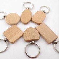 Catene chiave FAI DA TE Metallo in legno Keychain di legno a forma di cuore Blank Legno Portachiavi Chiave Portachiavi Regali Party Favore Regali creativi Accredoies K7