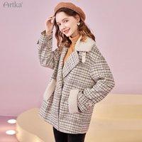 Женская шерстяная смесь Artka 2021 зимние женщины шерстяное пальто винтажную клетку для ямбвула сгущая куртка свободно теплый верхняя одежда FA25107D