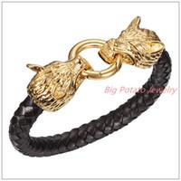 """8.66 """"* 9.5mm 56g punk jóias 316L aço inoxidável ouro fecho de lobo machos bracelete blagle couro preto trançado pulseira"""
