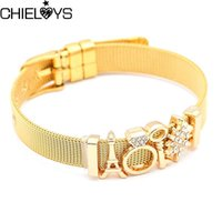 Link, Chain CHIELOYS Jewelry Gold Stainless Steel Bracelets & Bangles Female Crown Flower Charm Bracelet For Women