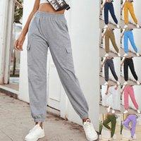 Kadın Giyim Streç Kumaş Süper Kalite Yoga Pantolon Yan Cepler Açık Spor Pantolon 2020 Yeni Güz ve Kış Giysileri