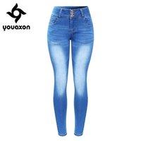 2143 Youaxon New прибыл плюс размер выцветал джинсы для женщин растягивающие толчок джинсовые брюки брюки Y200417
