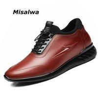 Misalwa Homem Casual Sneakers Homem Elevador Sapatos invisíveis 5 cm / 7 cm Aumentar Couro Mens Sapatos Lazer