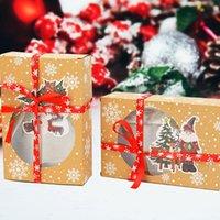 Regalo Wrap 2pcs / lot Casella di carta Kraft Babbo Natale Biscotto del pupazzo di neve per il partito Anno Forgis Inglese Natale Packaging navidad Natale