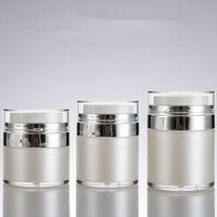 Fascia alta a doppia parete per perla bianca stampa interna Stampa interna Airless Pump Lotion Cream Jar 15G 30G 50g Pompa per la cura della pelle Pompa per il vuoto Siero Siero contenitore