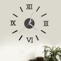 الأرقام الرومانية diy ساعة ديكور المنزل غرفة المعيشة المرايا 3d مجسمة لصق جدار الديكور الساعات متعددة الألوان جودة عالية 6YYA F2