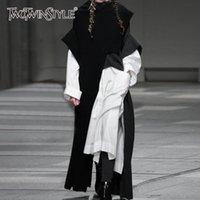 TwotWinstyle Sonbahar Kış Yeni Moda Giyim Eğilim Giyim Uzun kollu Düz Renk Yüksek Yaka Gevşek Düzensiz Kazak Y200720