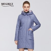MIEGOFCE 2020 Новая женская коллекция весенний куртка пальто с ромб-образцом Парка Глубокие карманы устойчивый к капюшоному воротнику