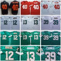 NCAA FOOBTALL 40 PAT TILLMAN 12 Bob Griese 13 Dan Marino Jersey 39 Larry Csonka 검은 색 빨간색 흰색 녹색 남자 빈티지 모두 스티치