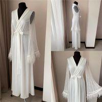 2020 Bridal 화이트 자켓 밤 가운 긴 소매 레이스 깃털 파티 잠옷 잠옷 임신 가운 벨트가있는 나이트 가운