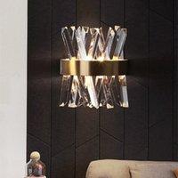 Duvar Lambası Modern Kristal Işık Yatak Odası Dekor Basit Salon Ev Led Nordic Aplik Altın Yatak Tarafı