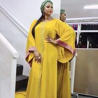 Africano Design Dashiki Dress Diamantes Vintage Muçulmano Abaya Bazin Femme Vestidos Maxi Vestidos Riche Party Mulheres Roupas Z1202