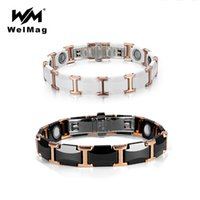WelMag Couple Tungsten Ceramic Bracelet Strong Magnetic Bracelets Bangles Health Energy Wristband for Women Men Luxury Jewelry Y1119