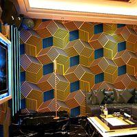 Ktv wallpaper karaoke hall flash panno muro flash 3d riflettente plaid geometrico modello grafico tema box sfondo sfondo wallpaper