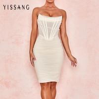 Yissang Beyaz Straplez Seksi Bandaj Mesh Midi Elbise Kadın Kapalı Omuz Astarlı Kulübü Parti Elbiseler Yaz Zarif Bodycon Sundress