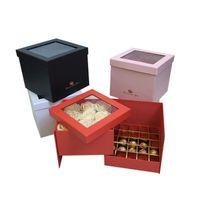 هدية التفاف التخليص pvc غطاء شفاف اثنين من الطابقين يمكن أن تتحول إلى بائع الزهور التعبئة زهرة الشوكولاته مربع عيد الفصح حفل زفاف