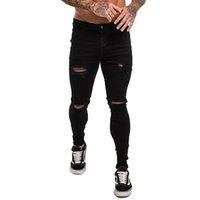 Gingto erkek kot siyah skinny yırtık kot elastik bel streetwear erkekler dropshipping kot streç denim pantolon zm04 201117