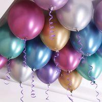 Nuovo 50 pz / set 12 pollici in metallo lucido perla in lattice palloncini spessi cromato cromato colori metallici gonfiabili aria palle globo festa di compleanno HHE3361