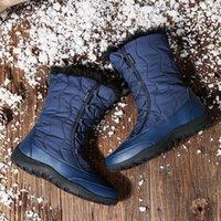 Горячие Продажа Moipheng снег Boots Женщины Новая зима теплая плюшевые пинетки Mid-теленок Водонепроницаемые Женская обувь Круглый Toe платформы Botas Mujer Invierno