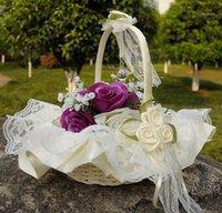 Dentelle mariage fleur panier fleur pétale panier de fruit simulation pétales de mariage fournitures dentelle ruban bambou panier1